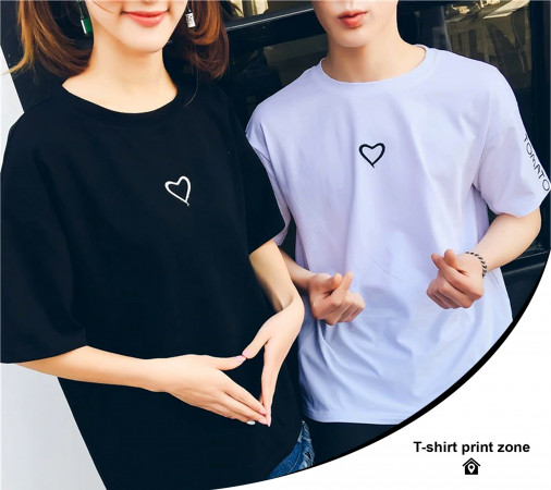 Couples T-Shirt Love Heart O-Neck Casual T Shirt Tops For Couple Lovers